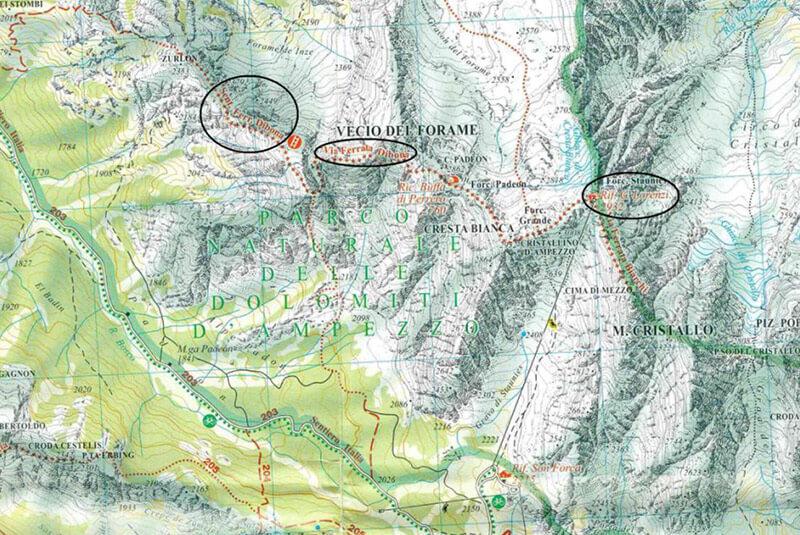 Klettersteig Map : Klettersteig dibona in den dolomiten karte beschreibung