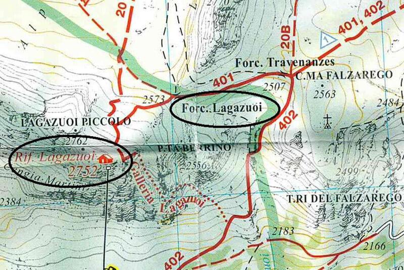 Klettersteig Map : Klettersteig lagazuoi in den dolomiten karte beschreibung