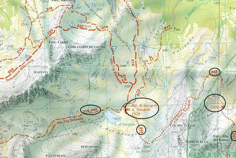 Klettersteig Map : Klettersteig vandelli in den dolomiten karte beschreibung